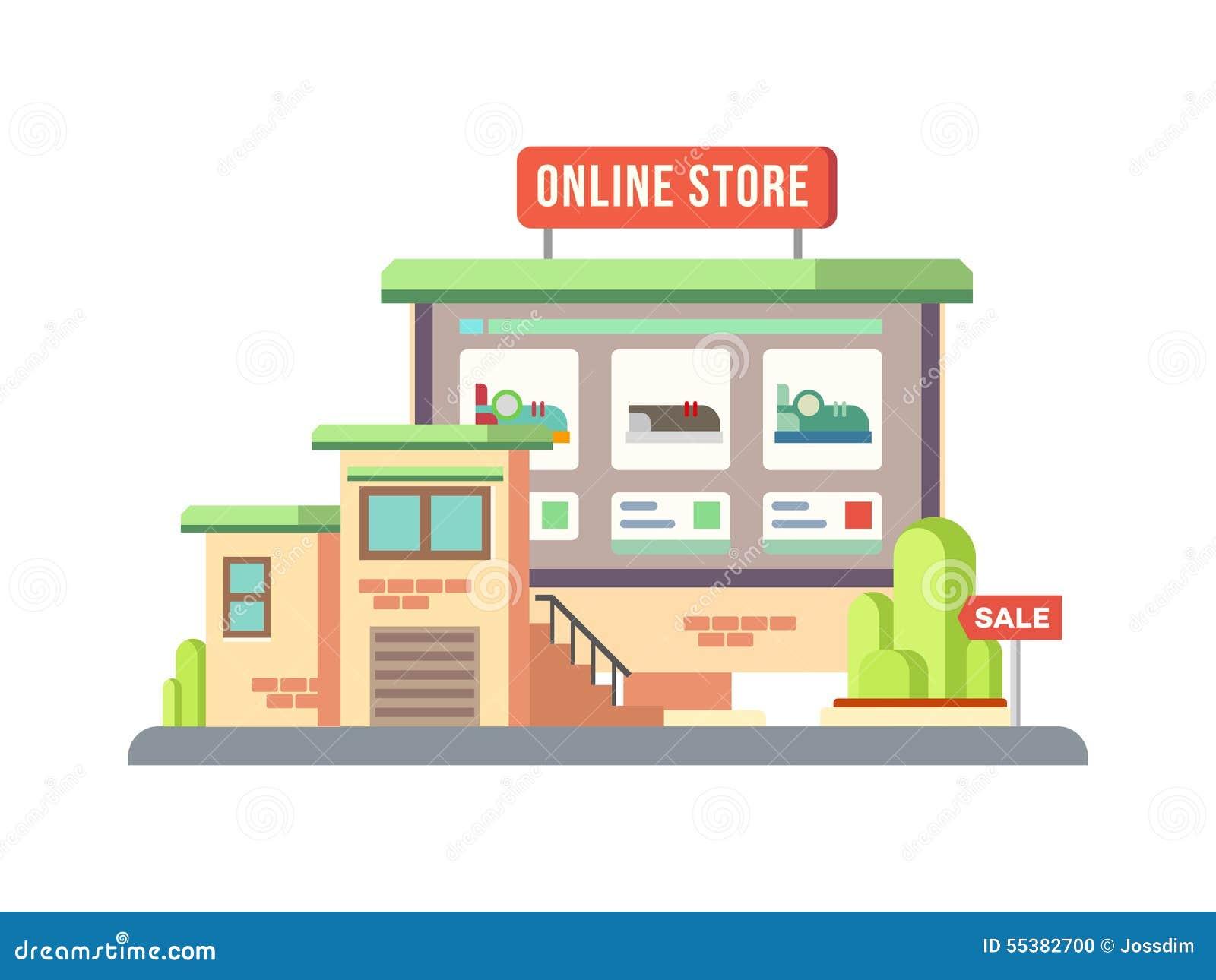 Download Online Shop Building Flat Design Stock Vector   Illustration Of  Browse, Commercial: 55382700