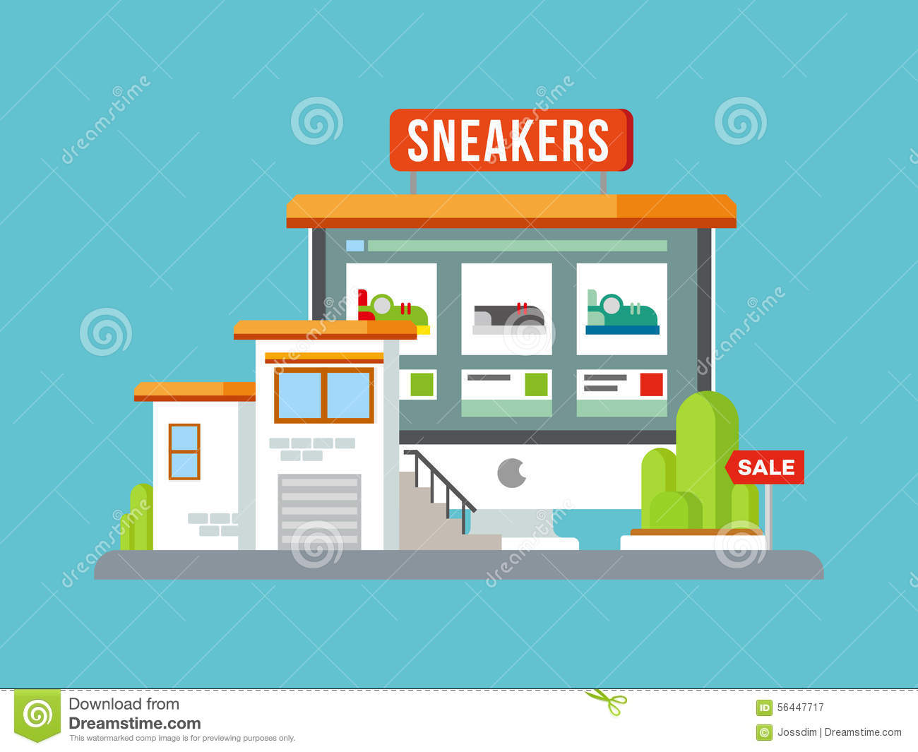 Online shop building flat design stock vector for Outlet design online