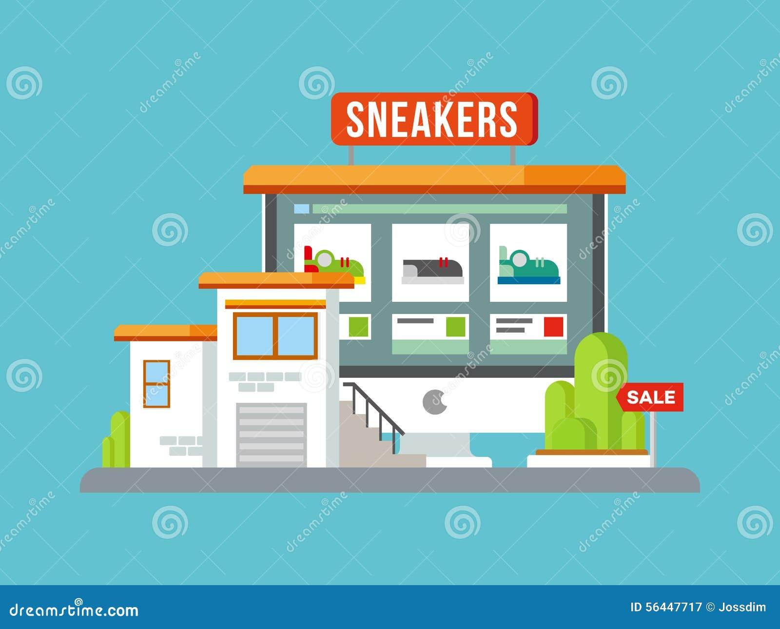 Online Shop Building Flat Design Stock Vector Image