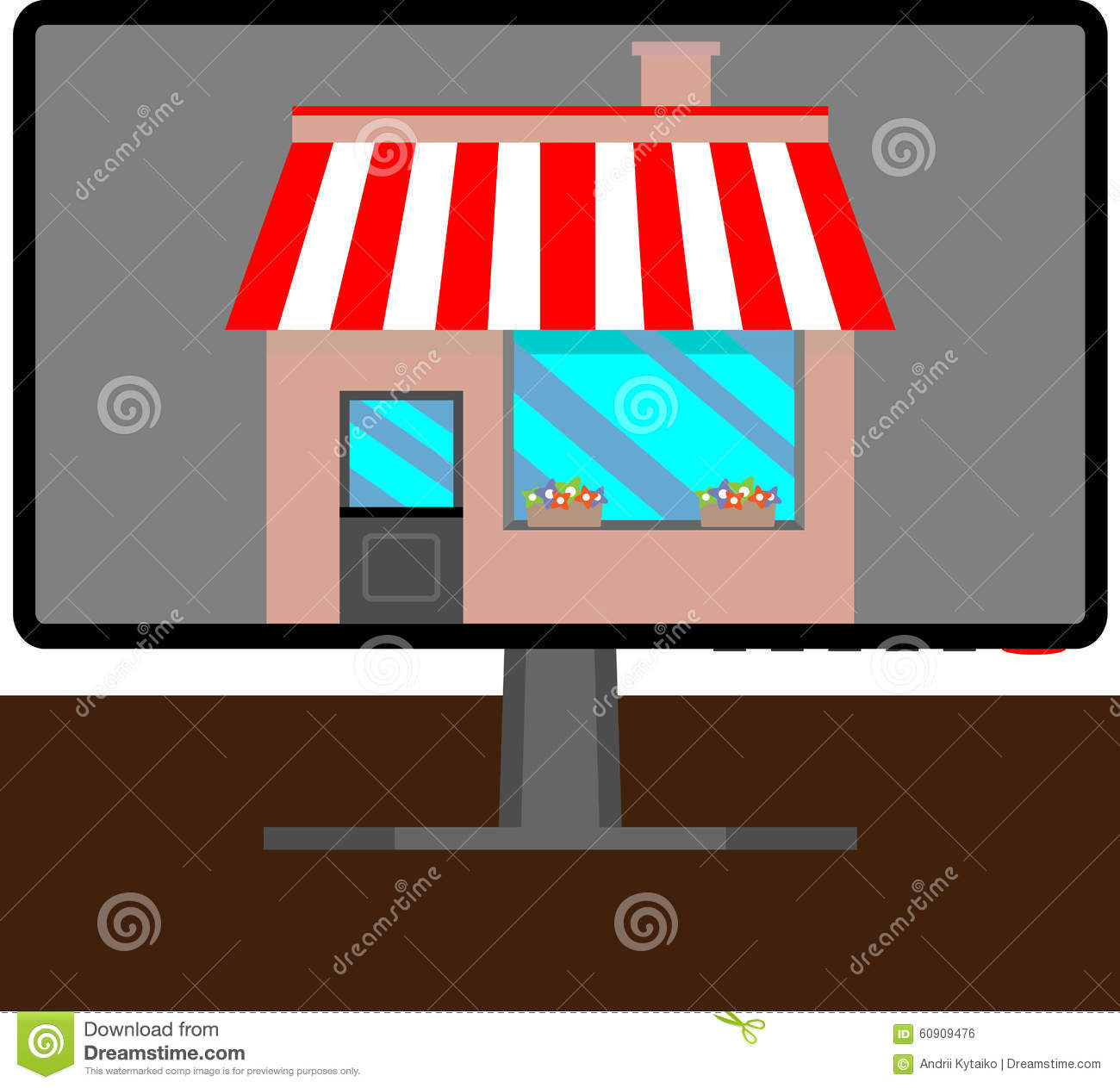 Flat vector business online shop computer monitor online for Outlet design online