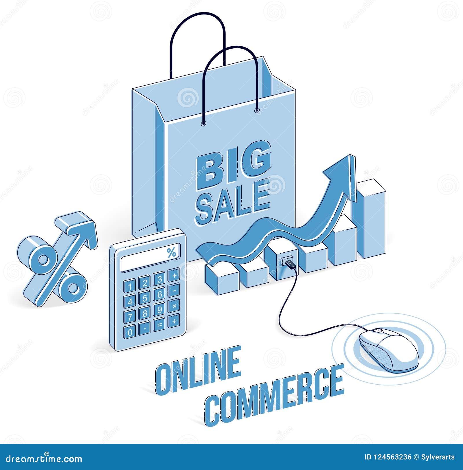Online Shop Concept, Web Store, Internet Sales, Shopping Bag Wit
