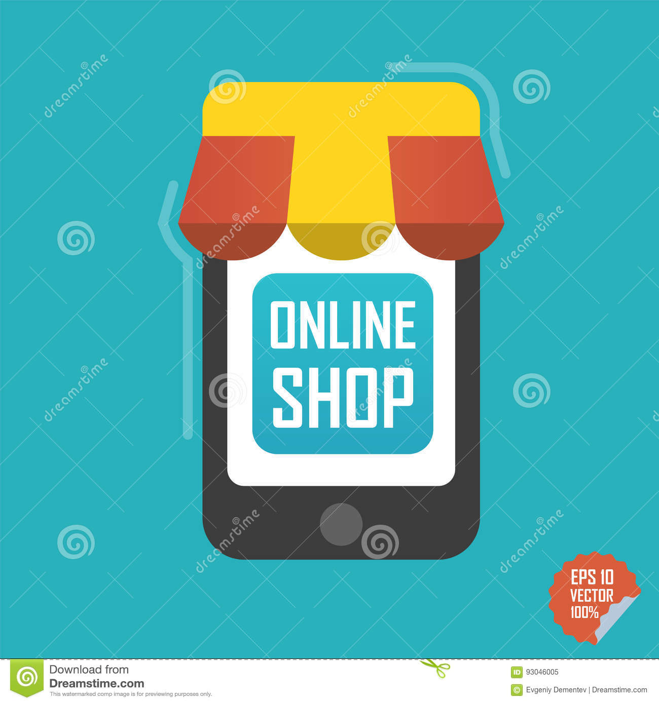 Online shop illustration smartphone with awning for for Online shop for website