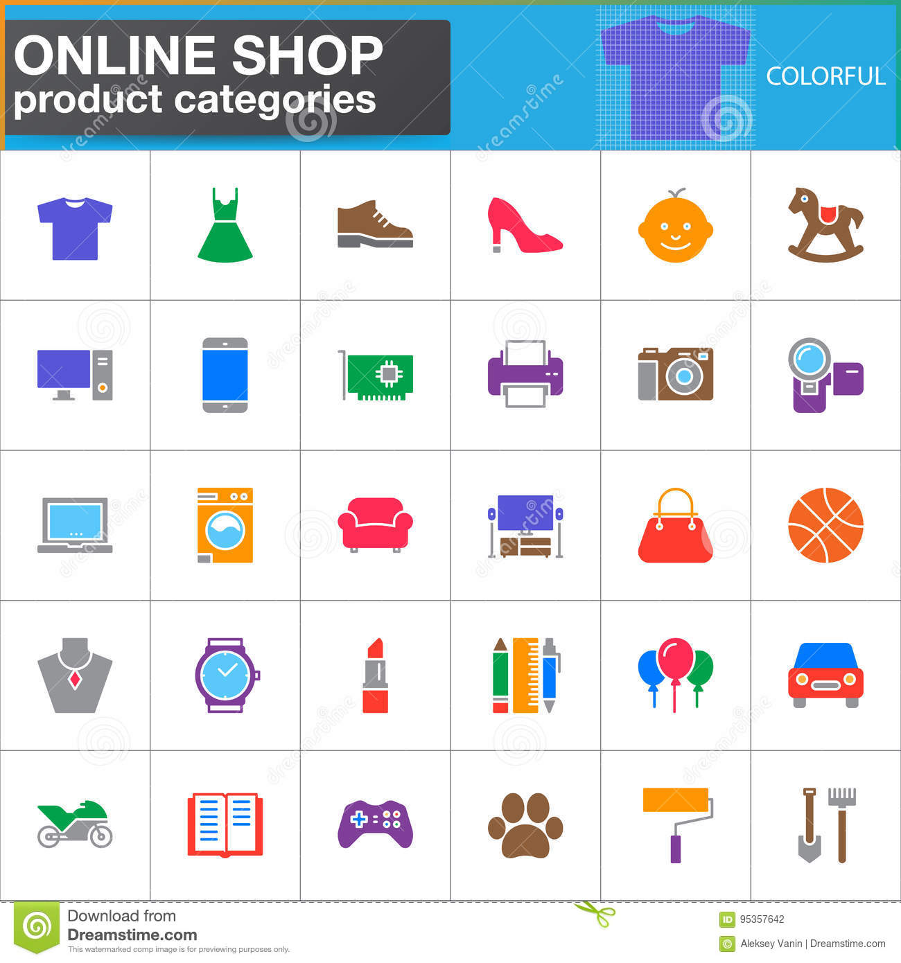 Online Shop Product Categories Vector Icons Set Modern Solid Symbol