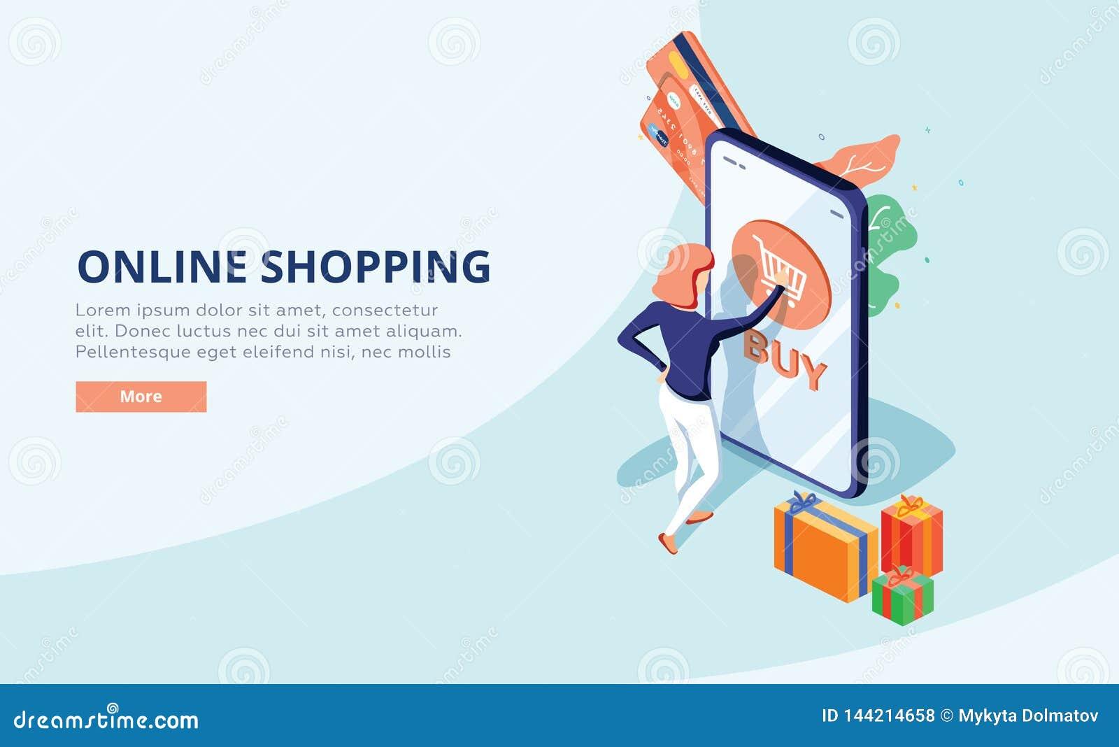 Online-shoppa begrepp med teckenet Sale och consumerism Den unga kvinnan shoppar direktanslutet genom att använda smartphonen Ill