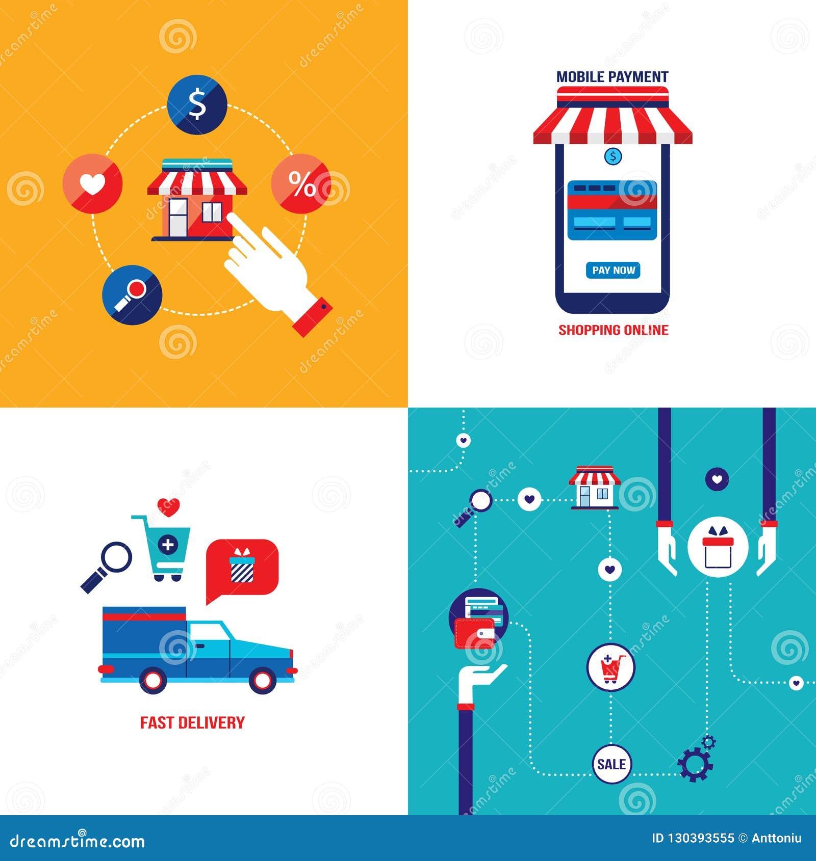Online-shoppa e-kommers mobil betalning och lyckad affärsidébaneruppsättning