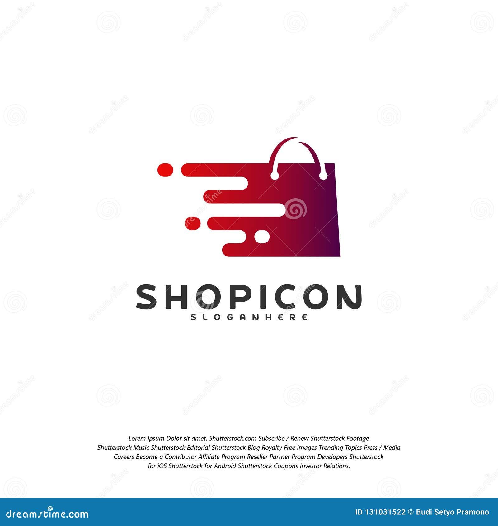 Online- shoppa lagermarknaden Logo Template Design Vector, PIXEL shoppar Logo Design Element