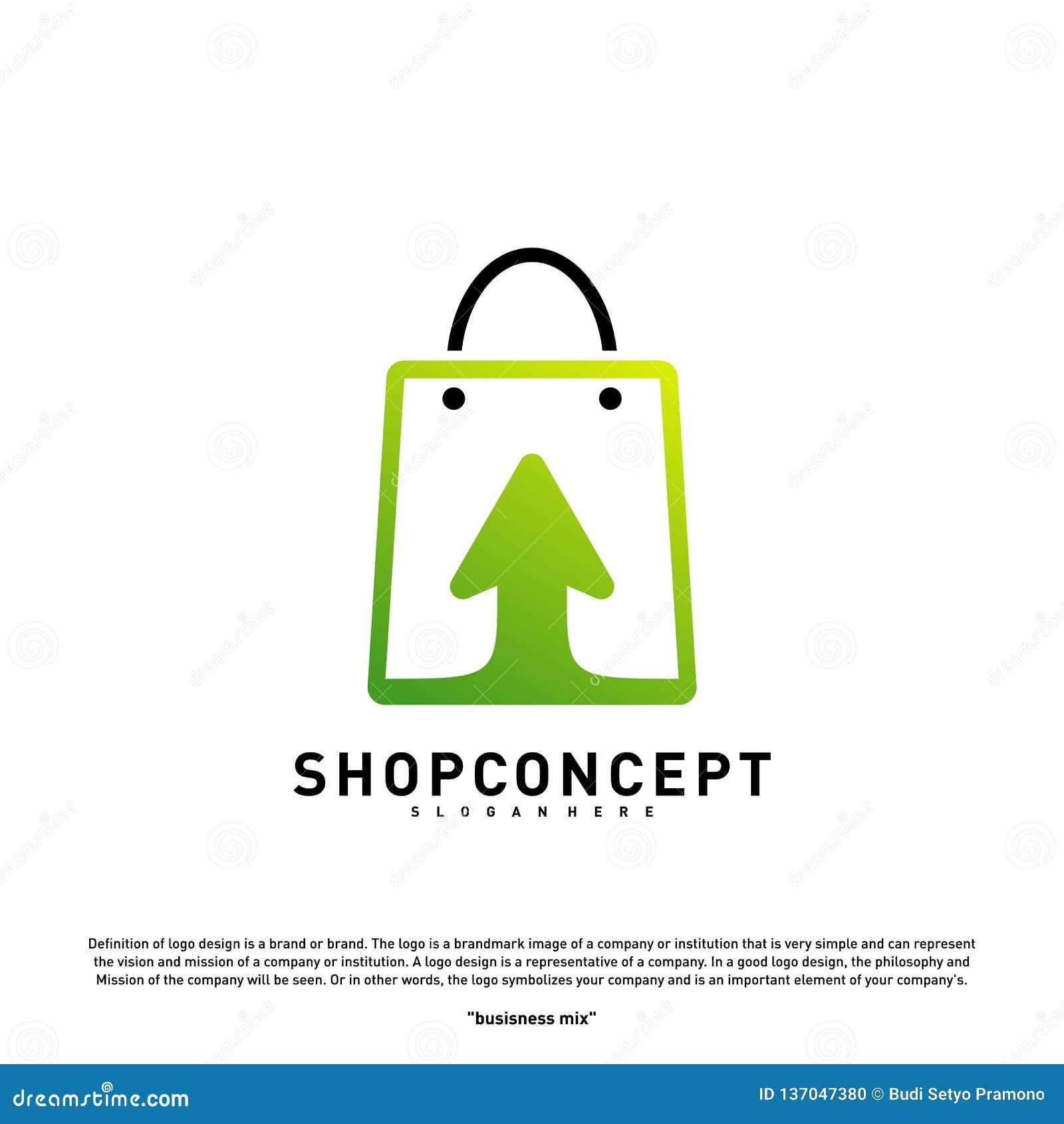 Online- shoppa Logo Design Concept Online-köpcentrum Logo Vector Online-lager- och gåvasymbol