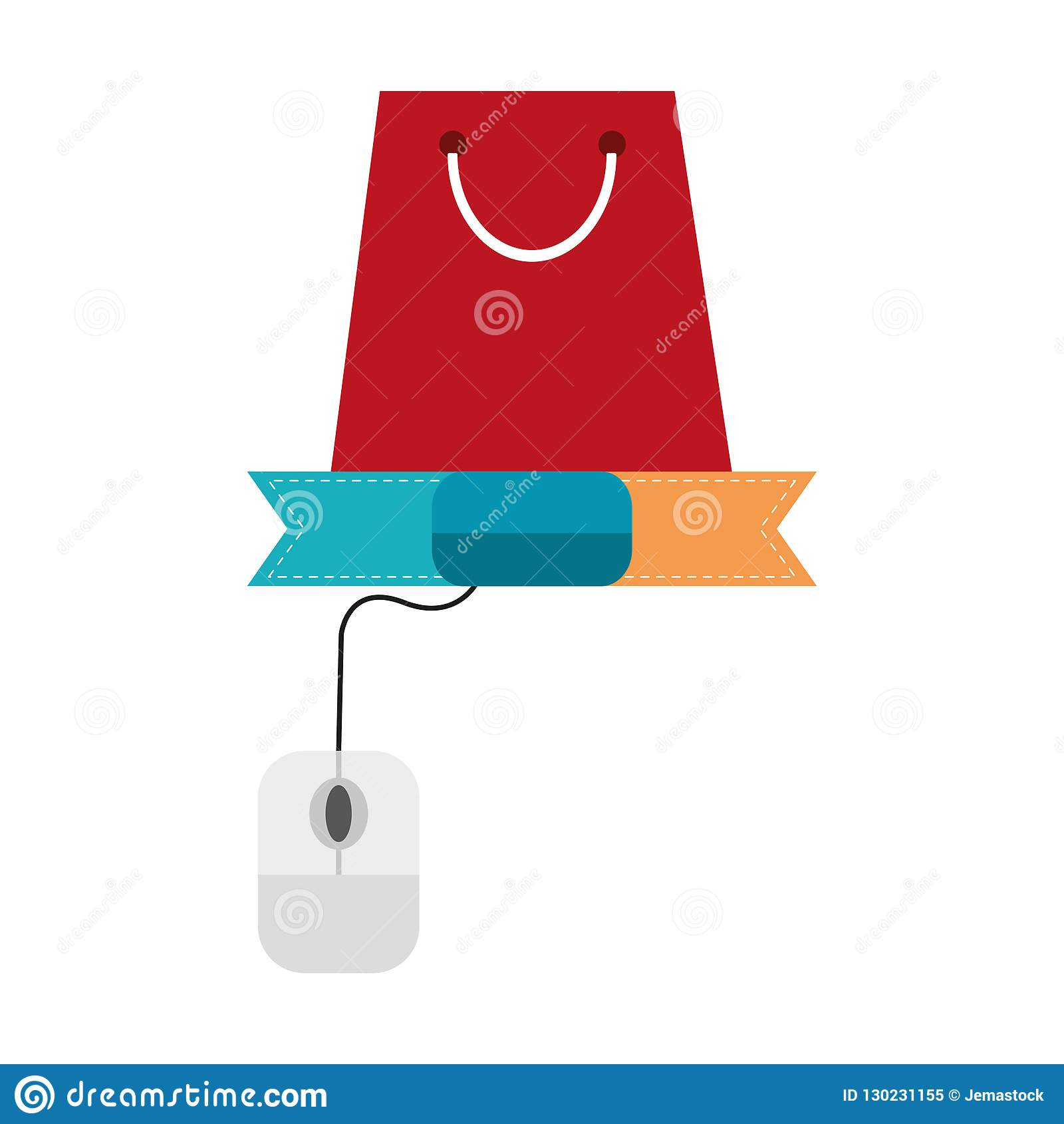 Online shopping bag and mouse with blank ribbon banner vector illustration  graphic design. More similar stock illustrations 2b926f8ebd371