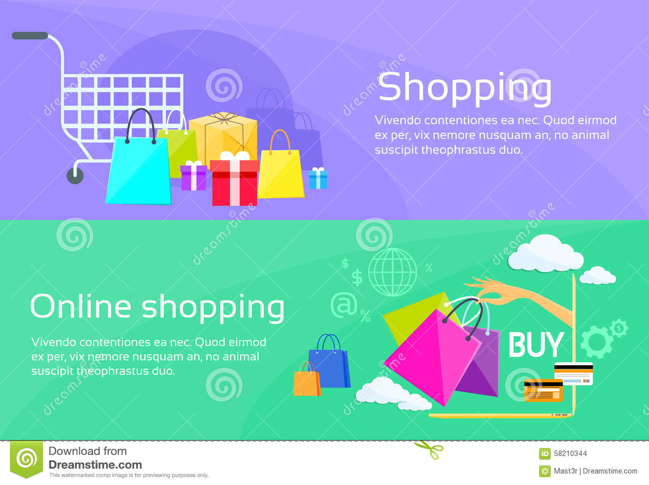 Online Shopping Web Banner Stock Vector - Image: 54936429