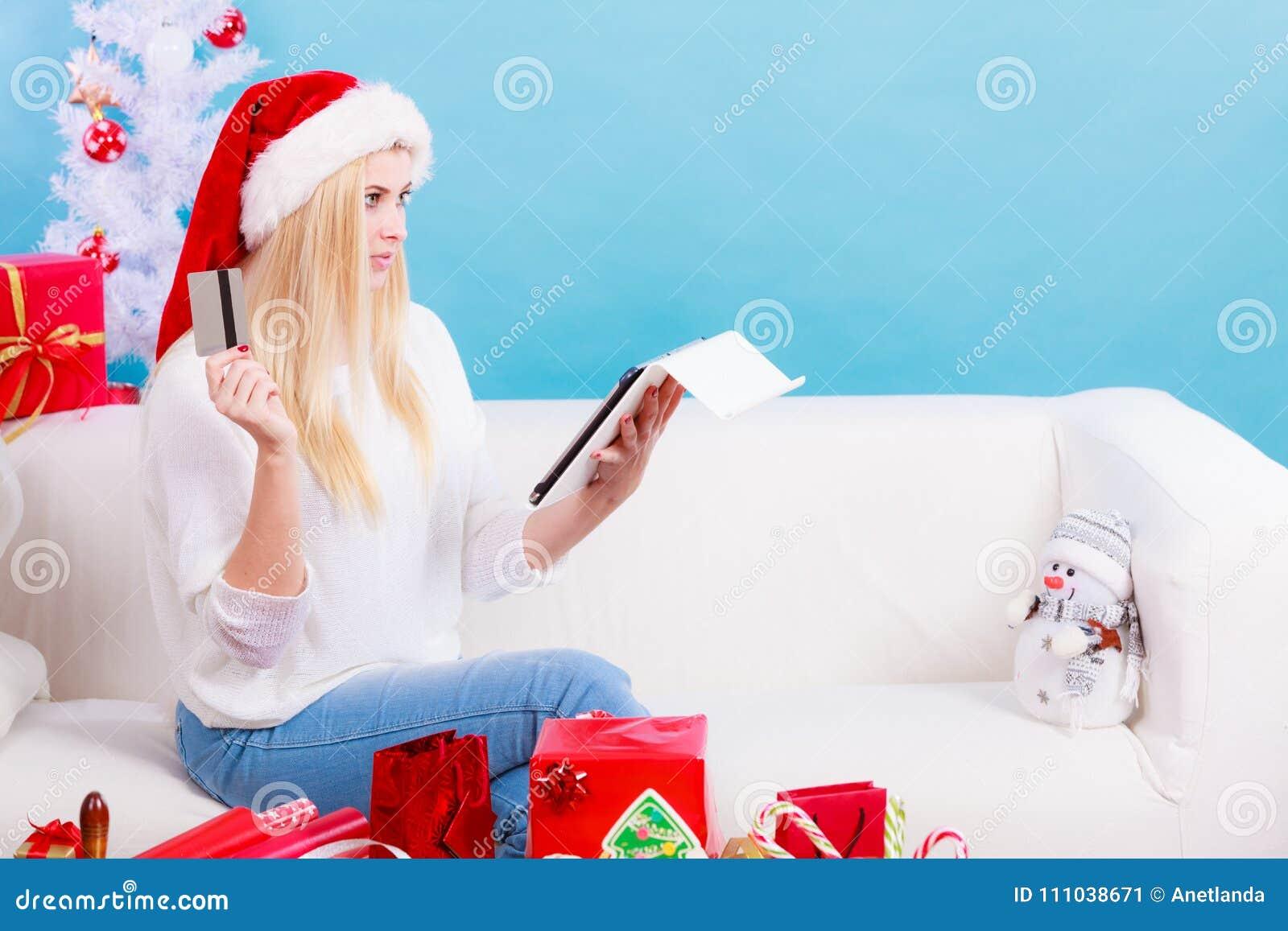 Woman Buying Christmas Gifts Online Stock Image - Image of customer ...