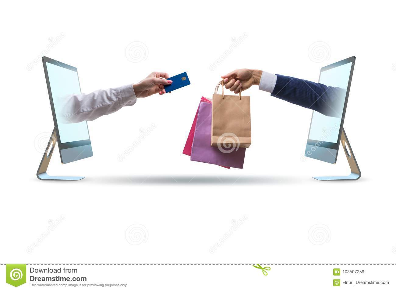 The online shopping through buying from internet