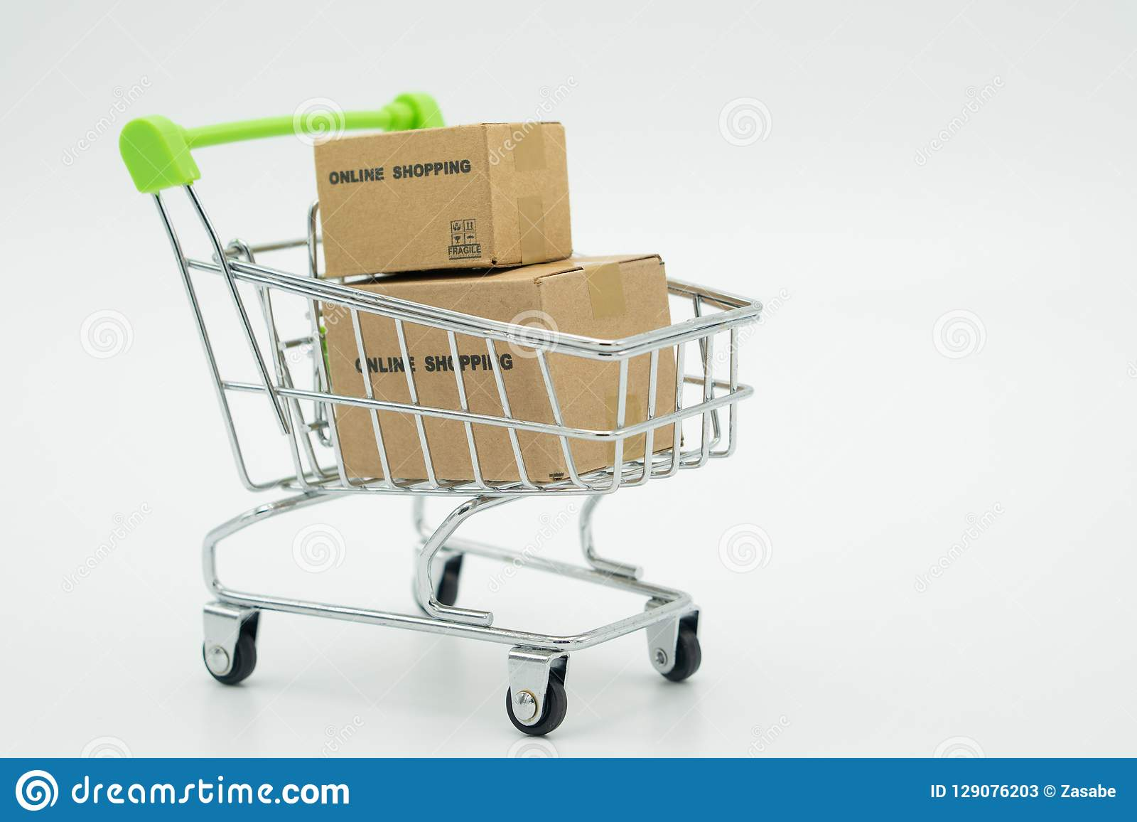 Online shopping with a shopping cart and shopping bags delivery