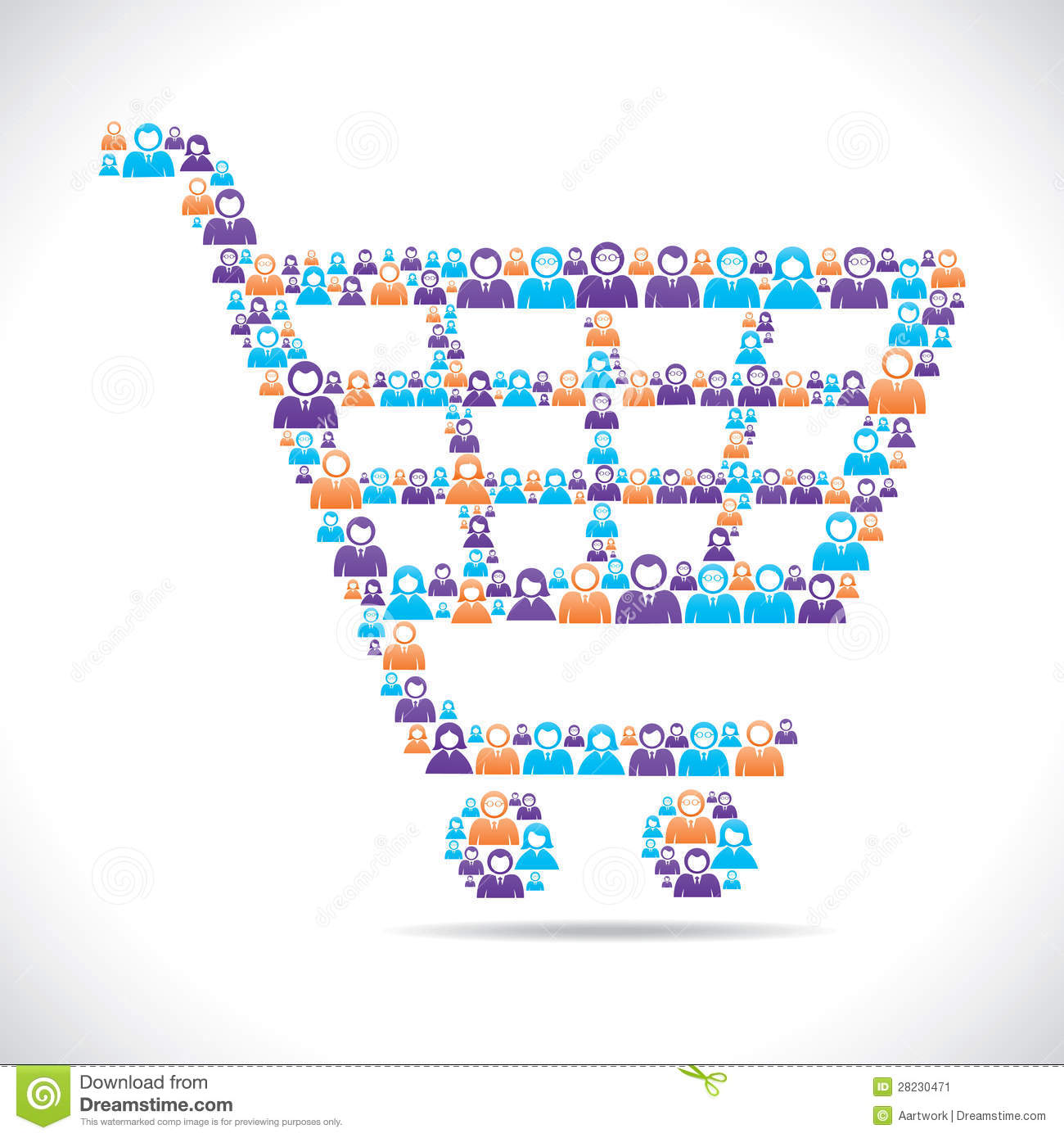 Online shopping cart design with people stock vector for Onlineshop design mobel