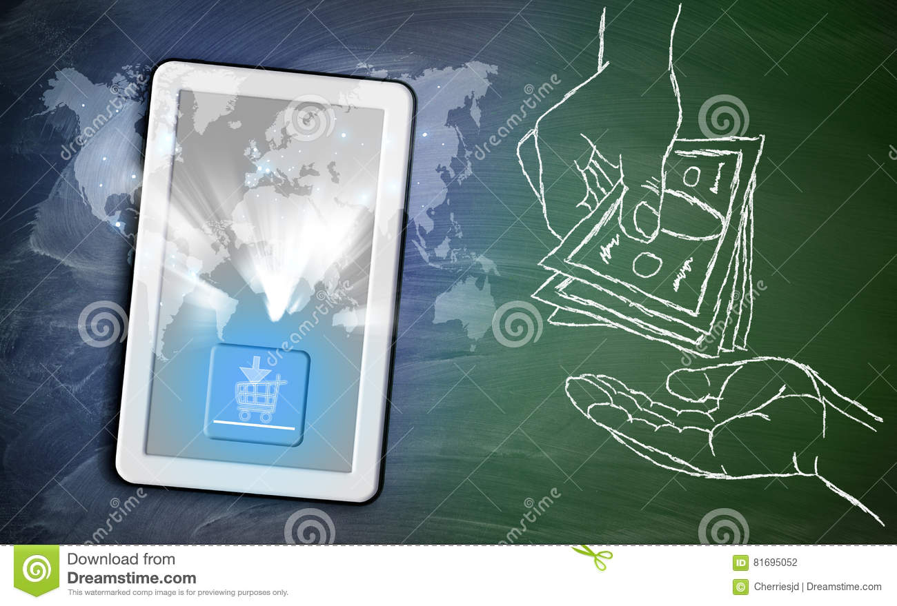 Online shopping cart on tablet and pins around world map on chal download comp gumiabroncs Gallery