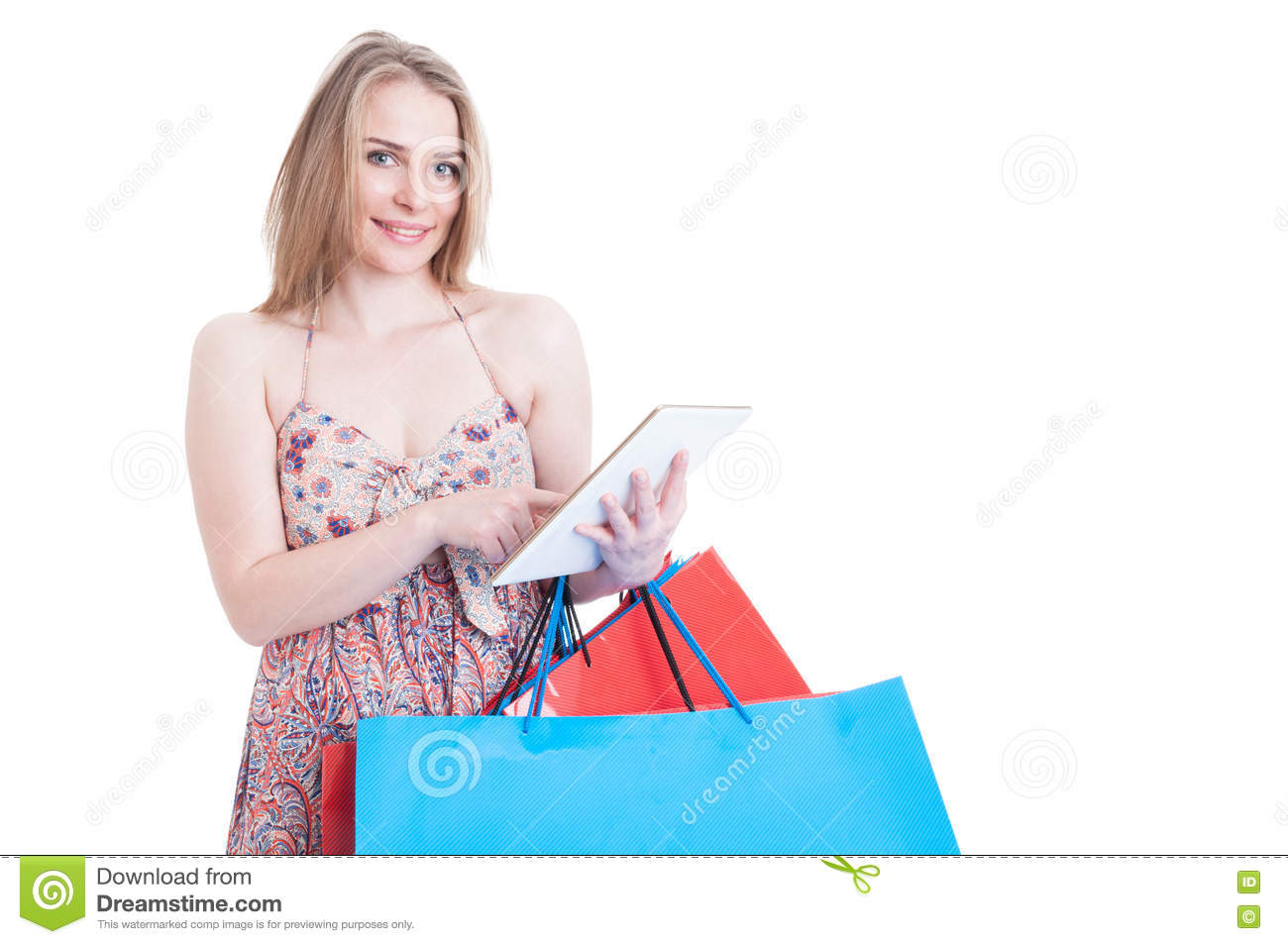 Online Shopping Concept With Happy Beautiful Shopper Holding Mod
