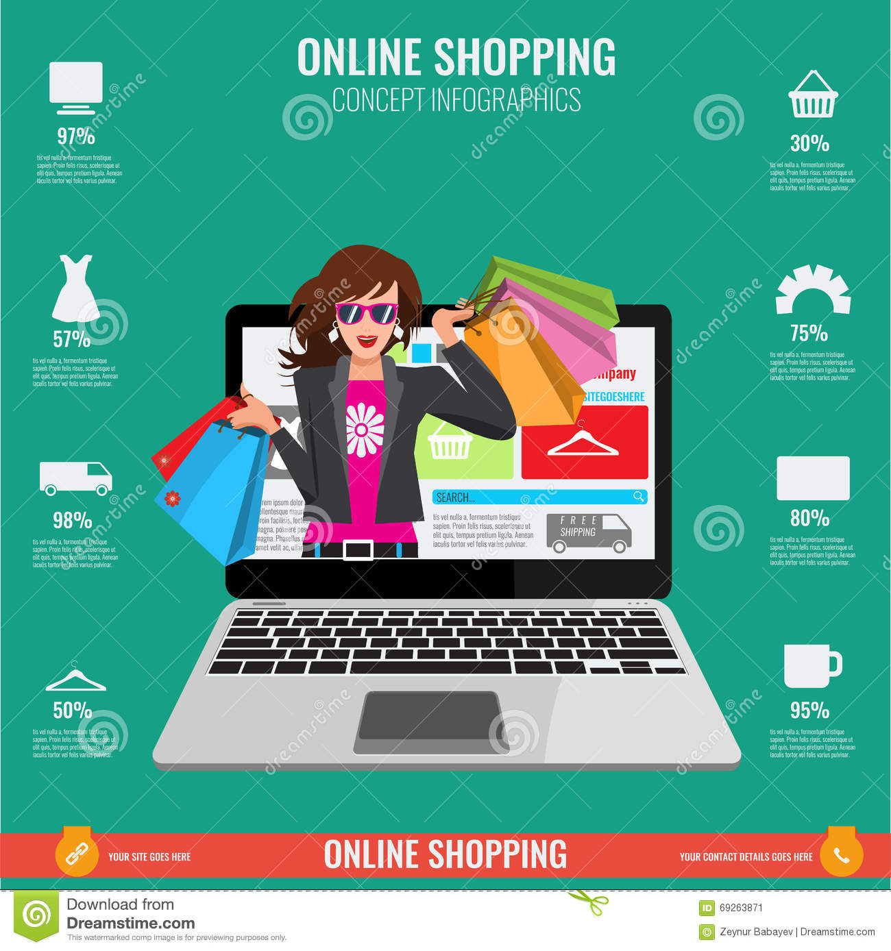 21fe940926b Online shopping concept infographics in vector. Illustrated Woman with  paper shopping bags watching from laptop.