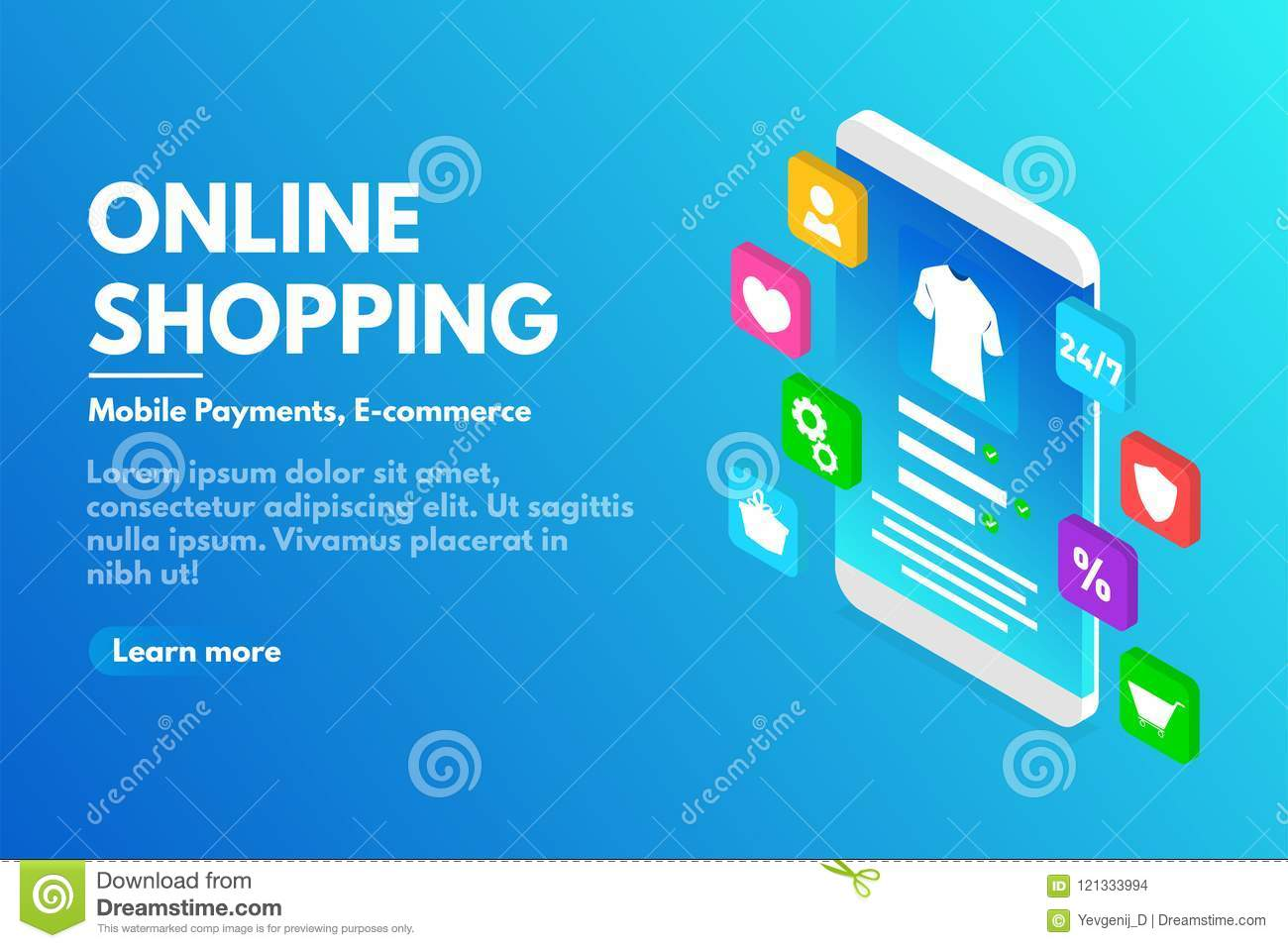 Online shopping concept. Isometric smartphone with user interface. E-commerce and online store concept