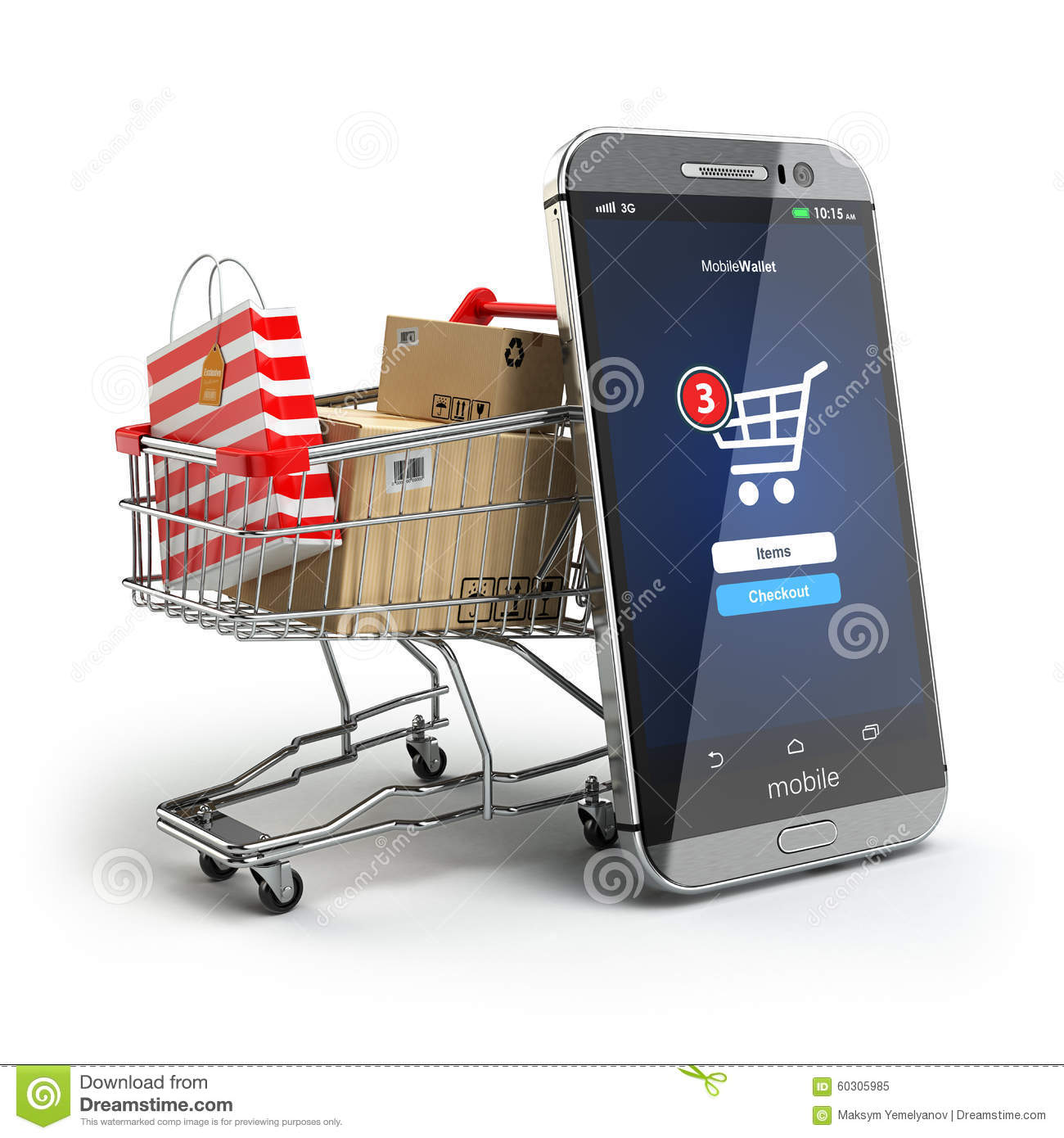 online shopping concept mobile phone or smartphone with cart an stock illustration. Black Bedroom Furniture Sets. Home Design Ideas