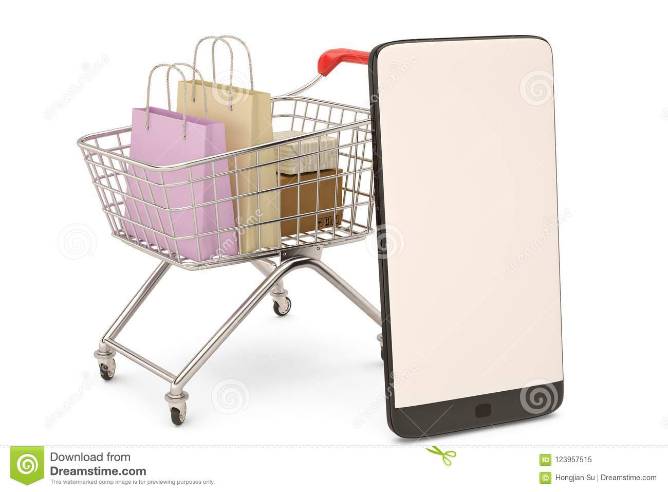 6668a3e8d Online shopping concept mobile phone or smartphone with cart and boxes and  bag.3D illustration.