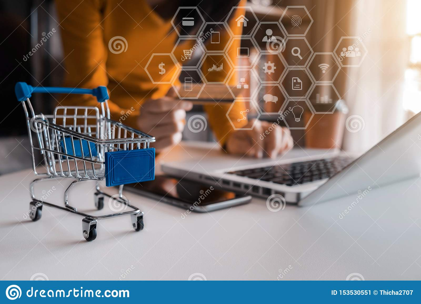 Online shopping concept, woman shopping online.