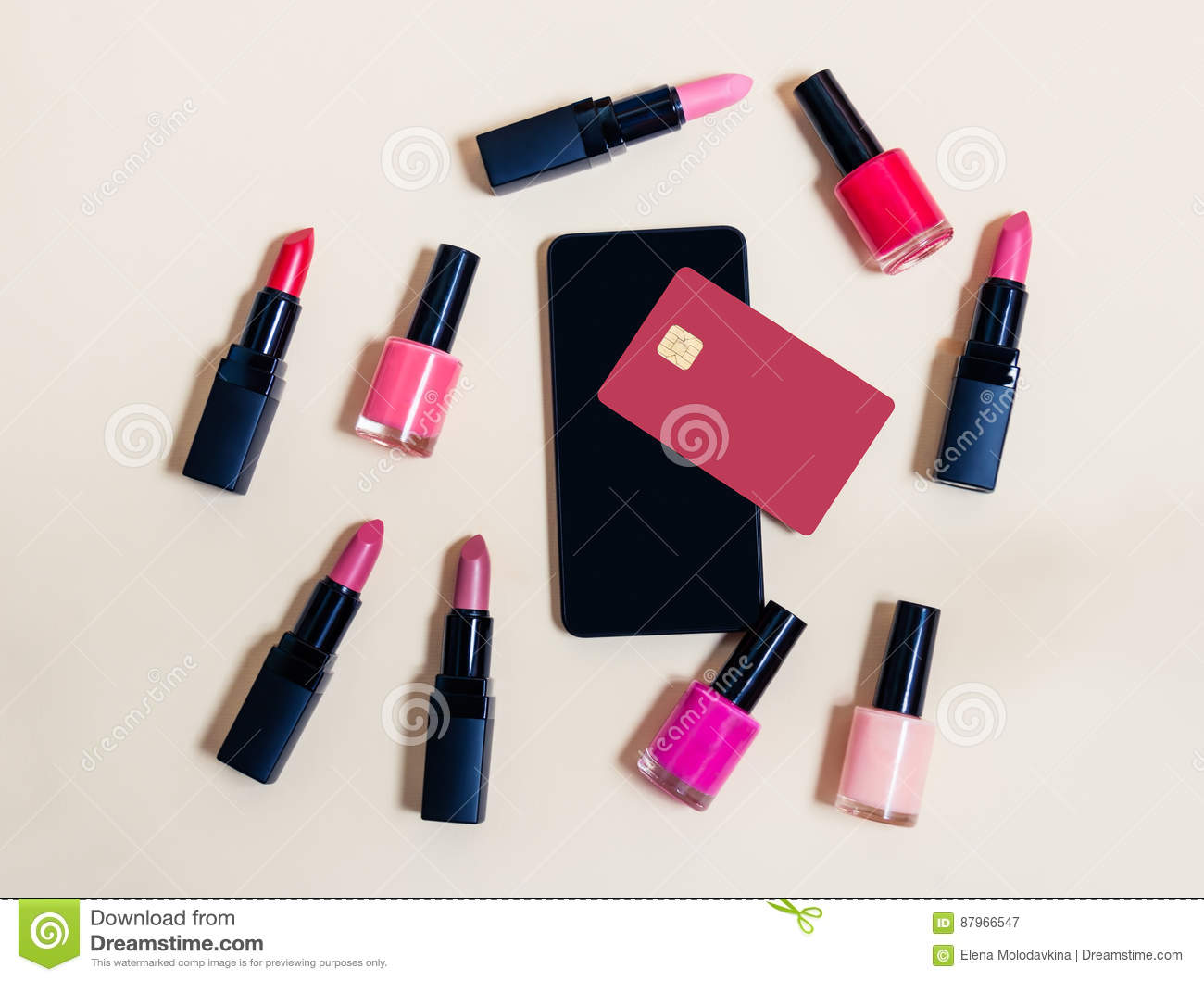 Online shopping cosmetics concept. Beige background.