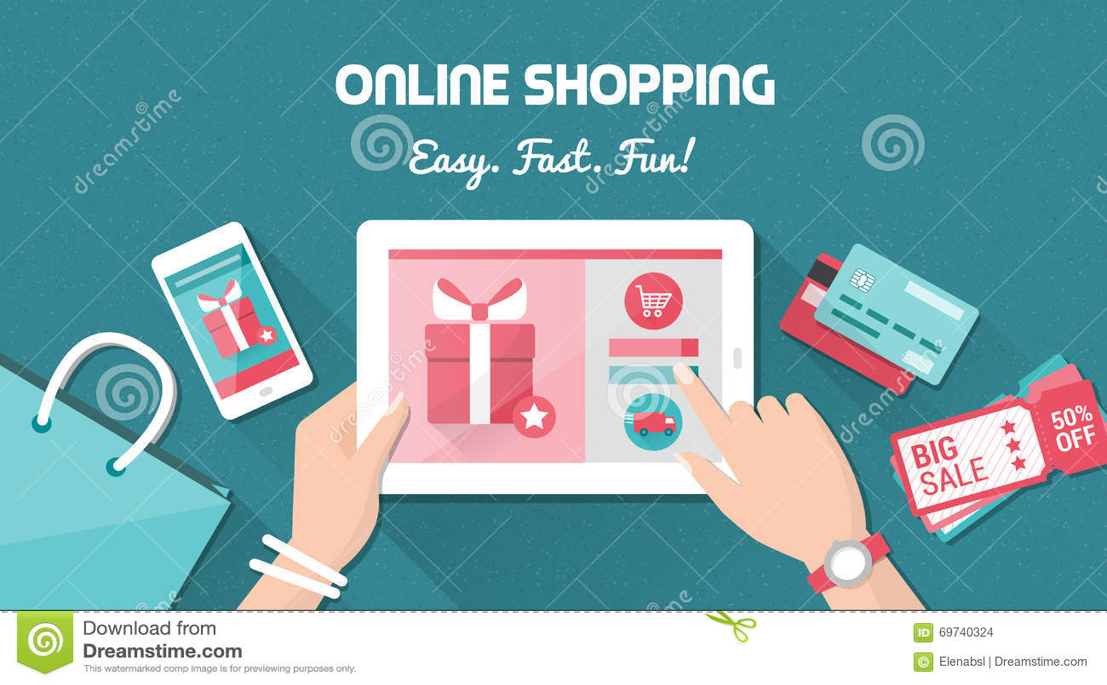 online shopping stock vector image 69740324. Black Bedroom Furniture Sets. Home Design Ideas