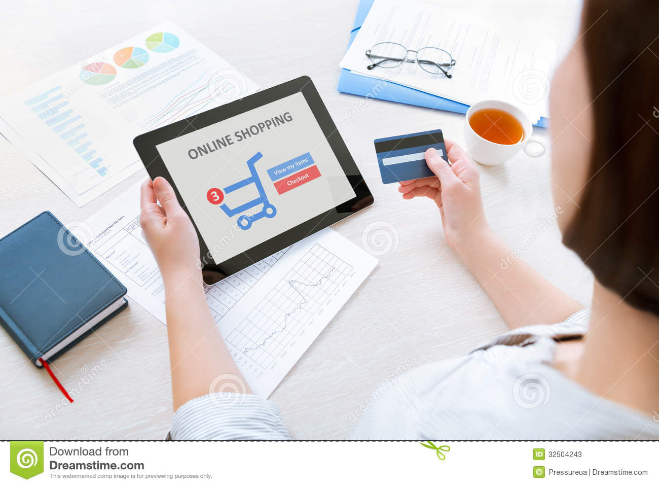 Online Shopping With Digital Tablet Stock Image - Image of