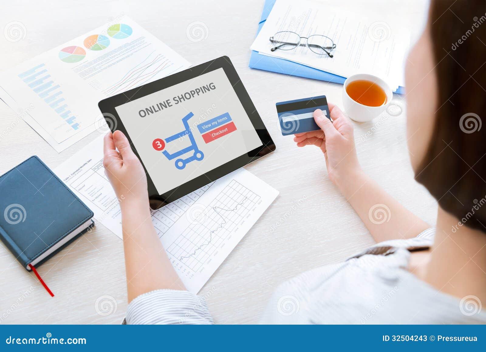 online shopping with digital tablet stock image image of finance digital 32504243. Black Bedroom Furniture Sets. Home Design Ideas