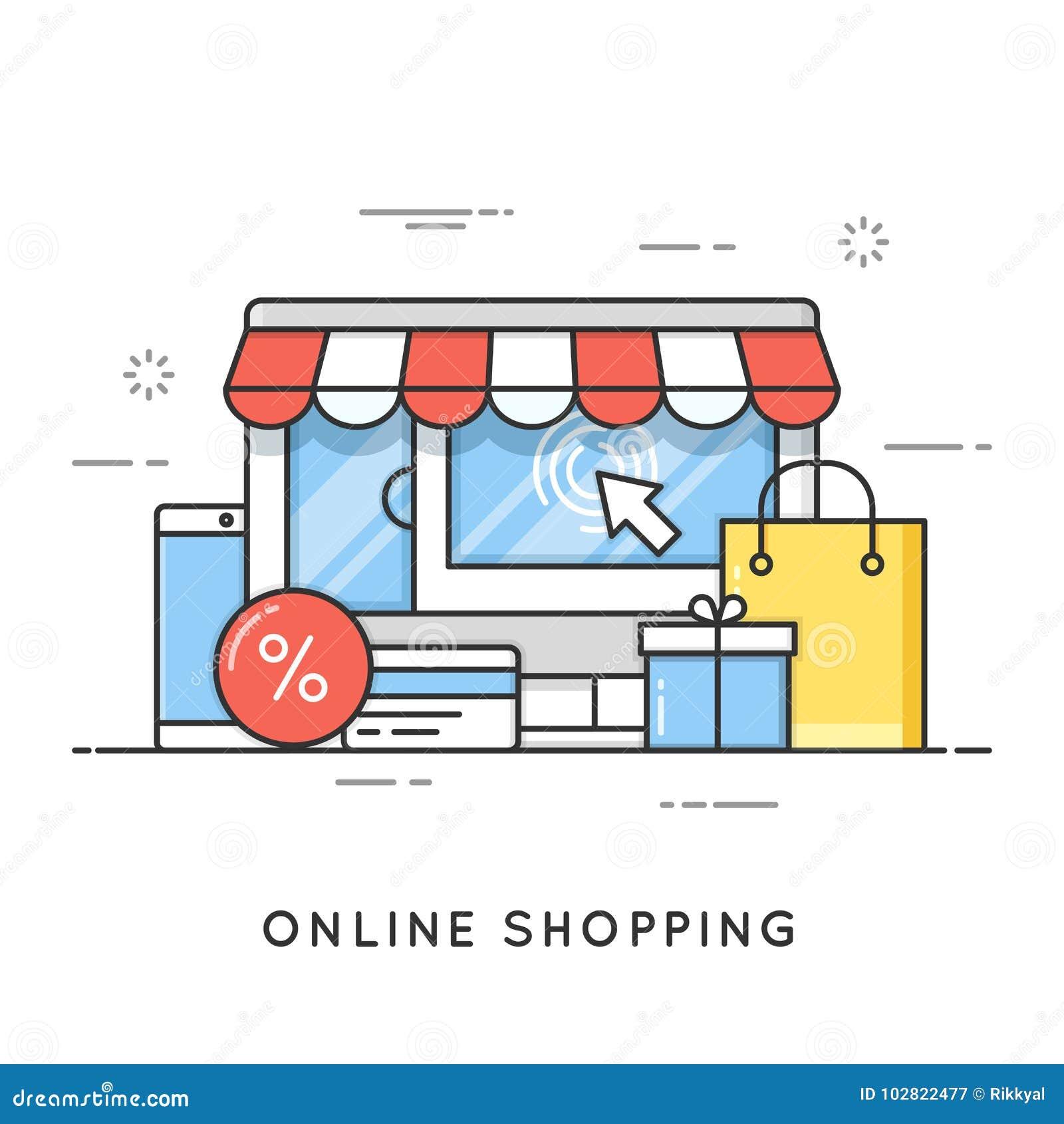 Online-shopping, e-kommers Plan linje konststilbegrepp vektor