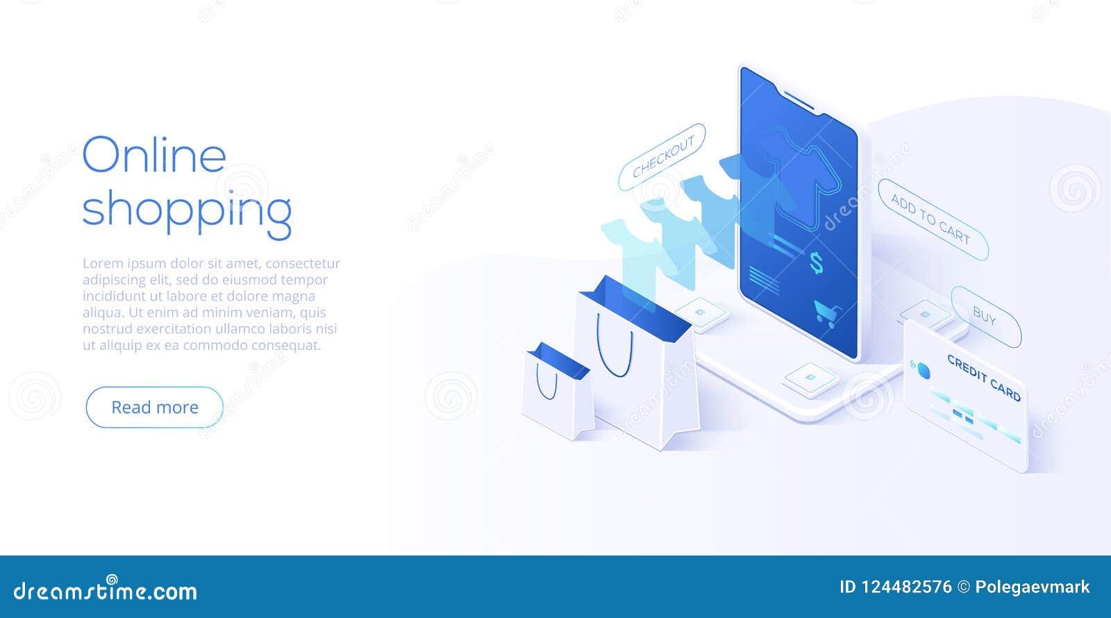 Online-shopping eller e-kommers isometrisk vektorillustration int