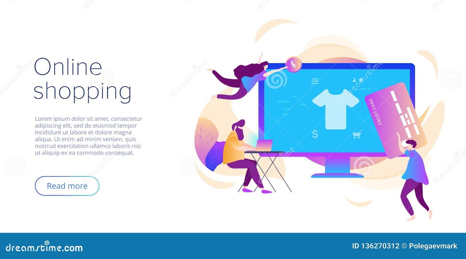 Online-shopping eller e-kommers plan vektorillustration Begrepp för tillvägagångssätt för internetlagercheckput med smartphonen o