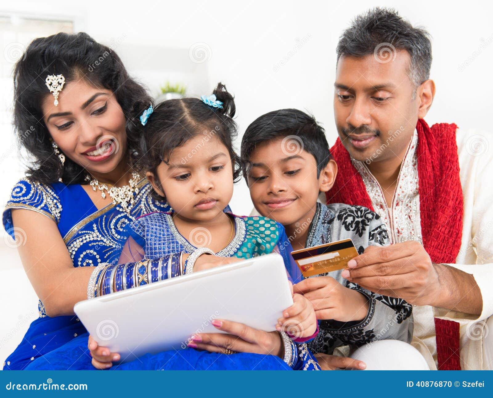 Online-shopping för indisk asiatisk familj med kreditering ca