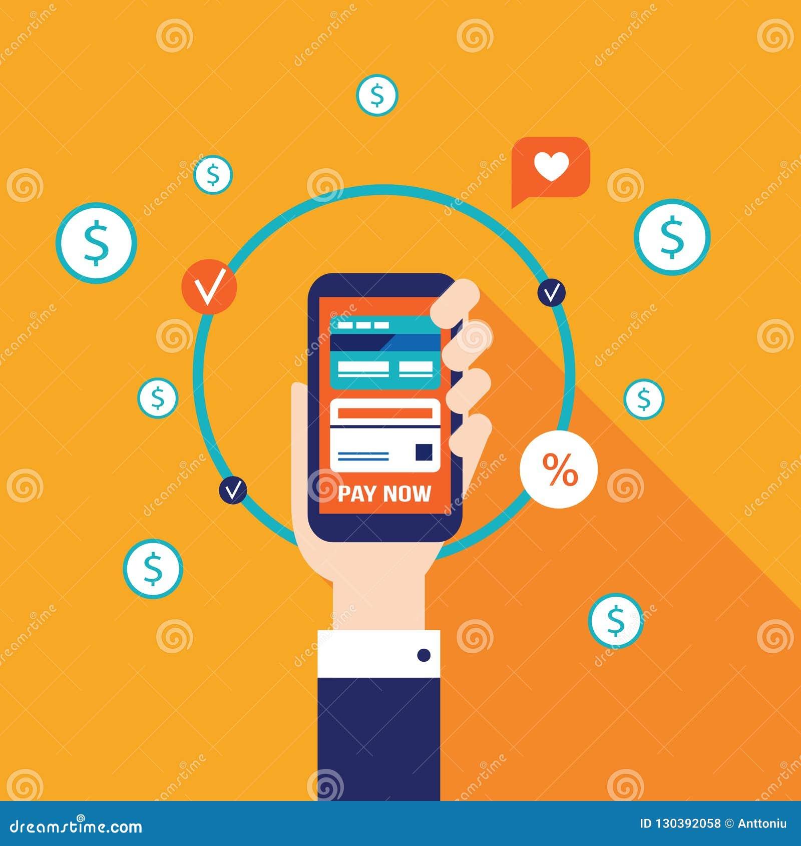 Online-shopping för mobil betalning och e-kommers begrepp