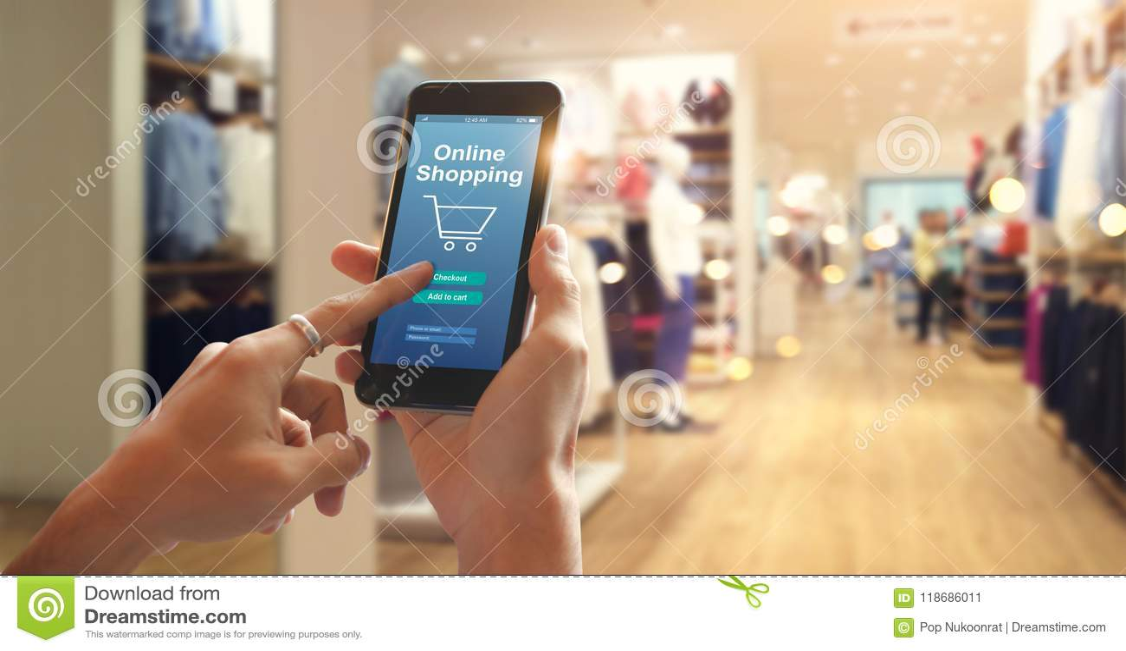 Online-shopping för smart telefon i kvinnahand abstrakt teknologi för bakgrundsanslutningsnätverk