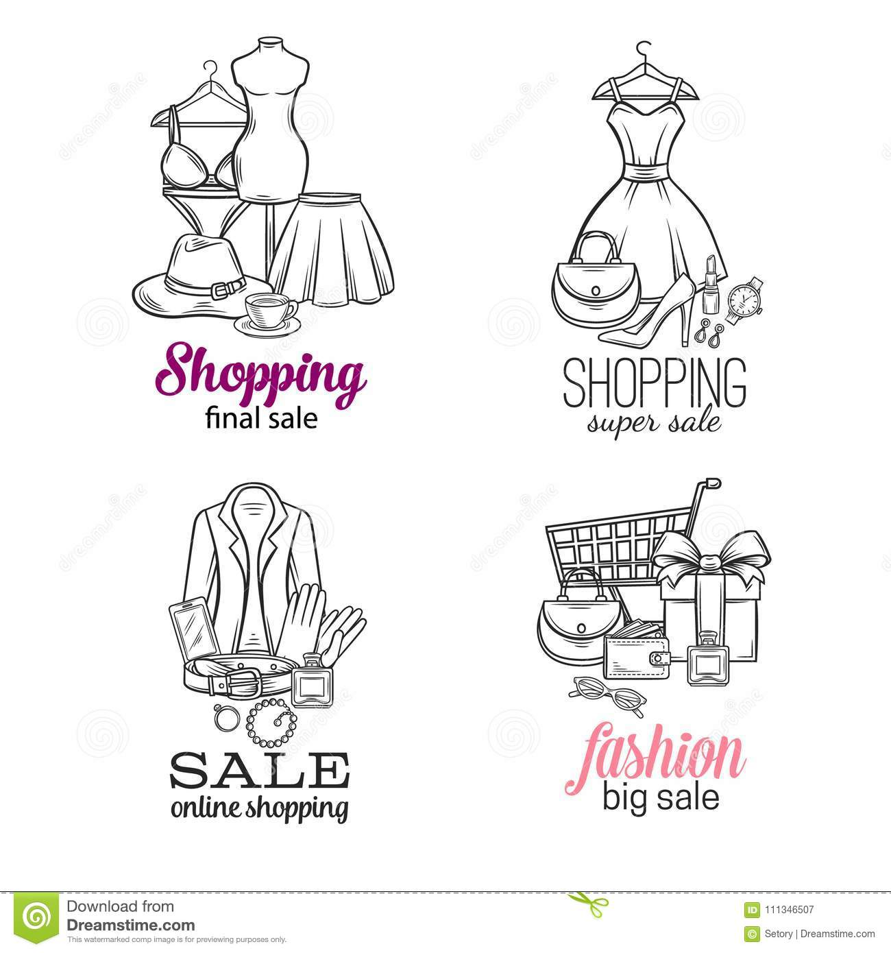 Online Shopping Stock Vector Illustration Of Drawn 111346507