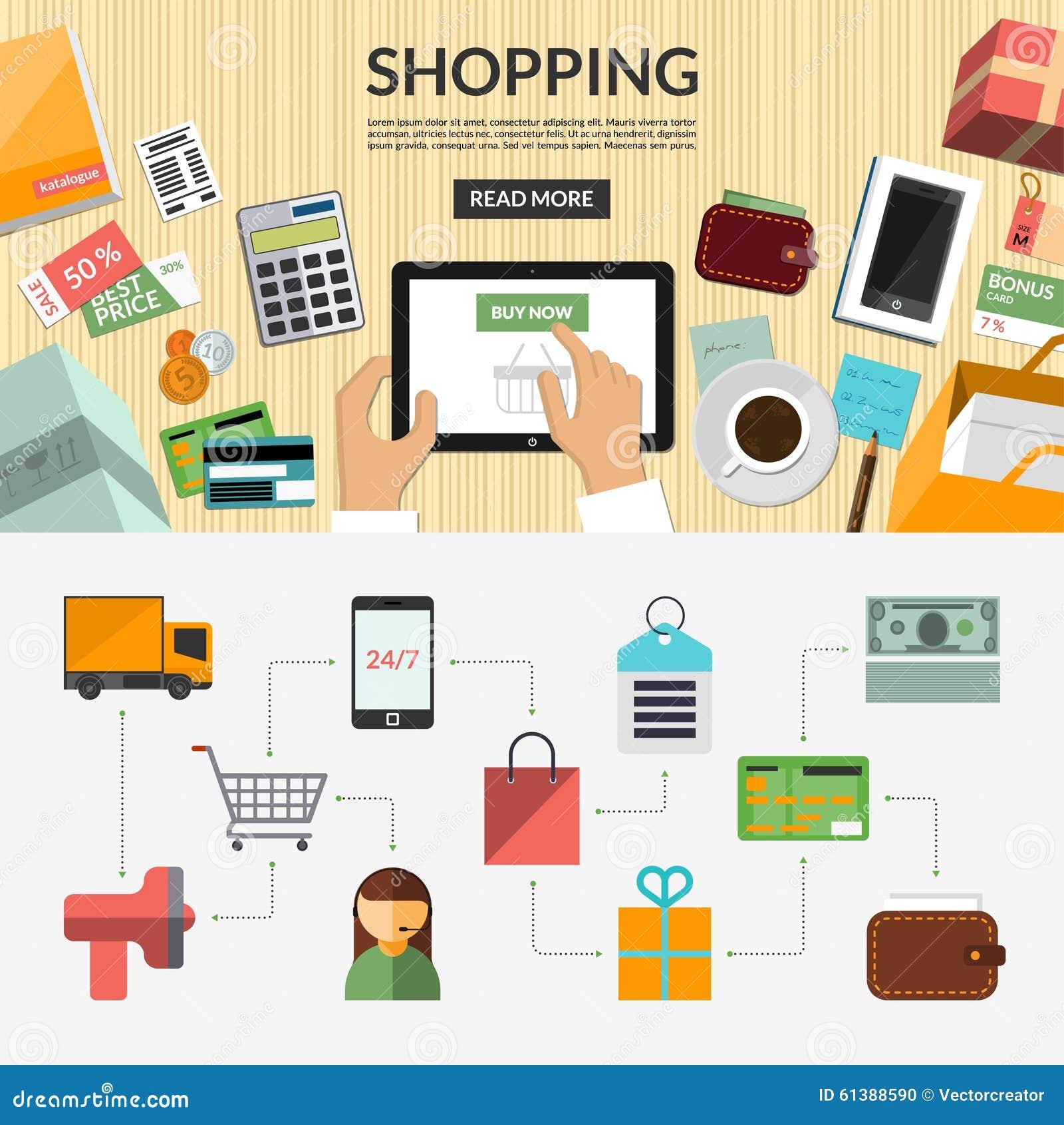 online shopping flat concept background banner stock vector image 61388590. Black Bedroom Furniture Sets. Home Design Ideas