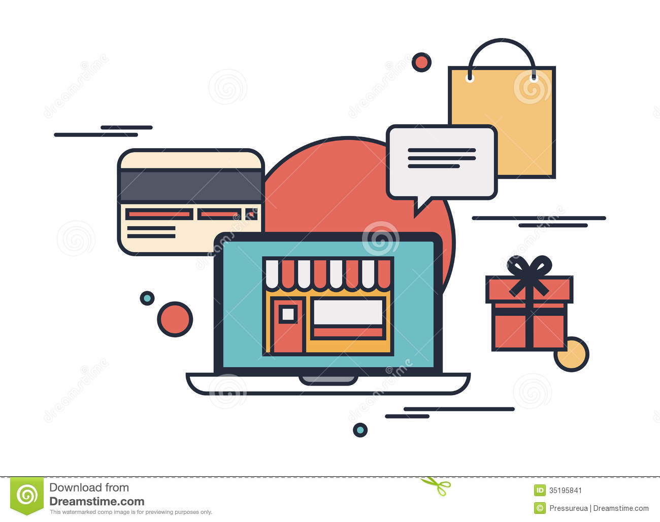 Online shopping flat illustration concept stock image for Design online shop