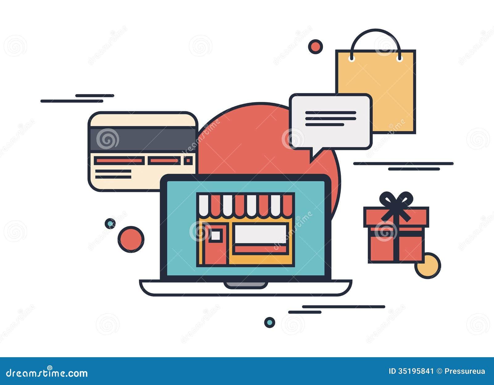 Online shopping flat illustration concept stock image for Design outlet online