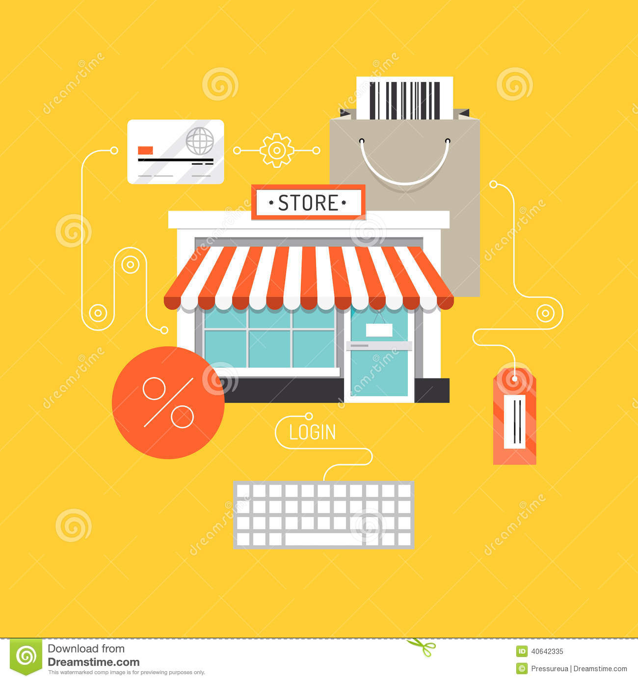 online shopping flat illustration concept stock vector