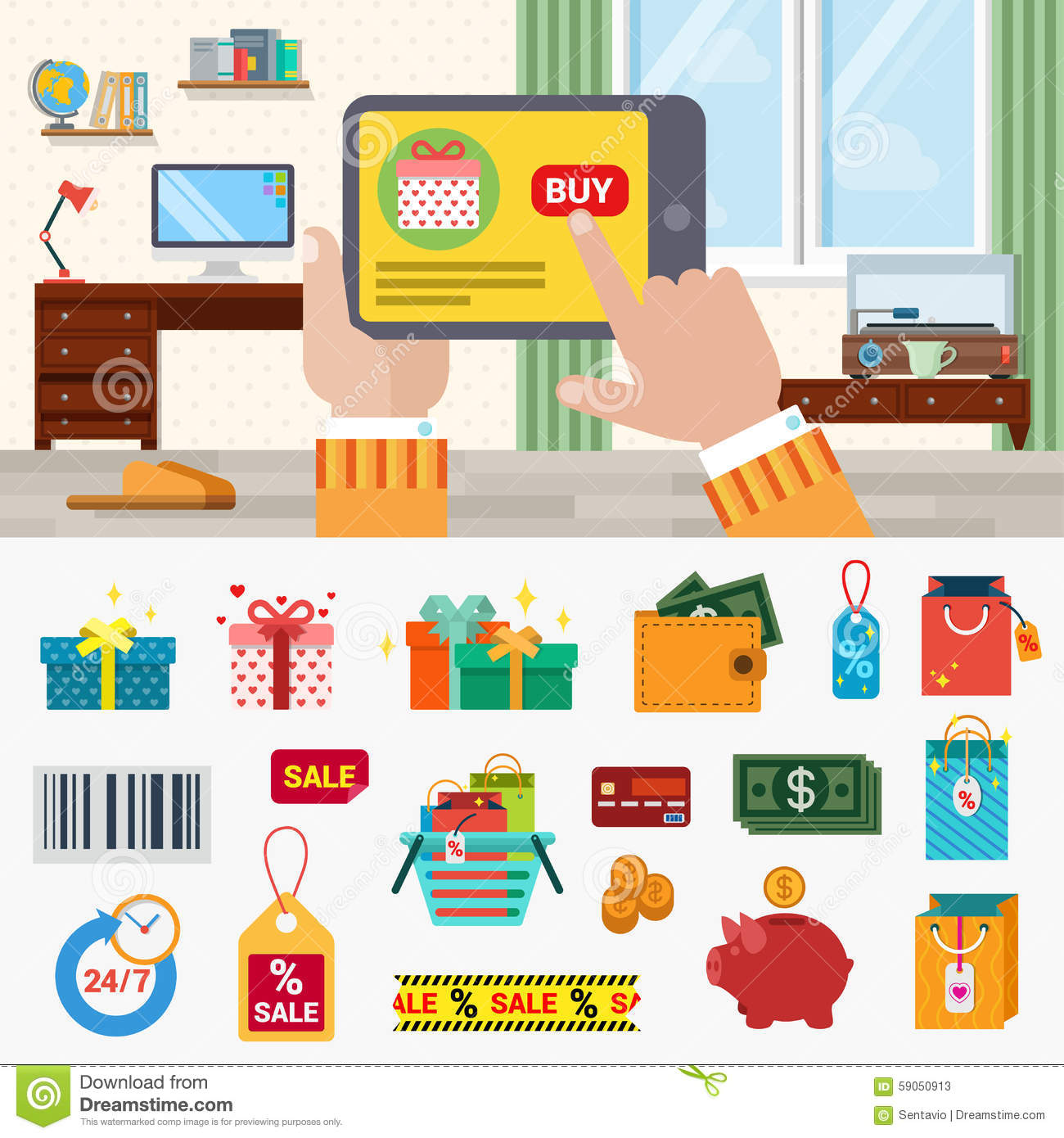 Online shopping flat vector icons tablet buy gift money for Online shopping websites list