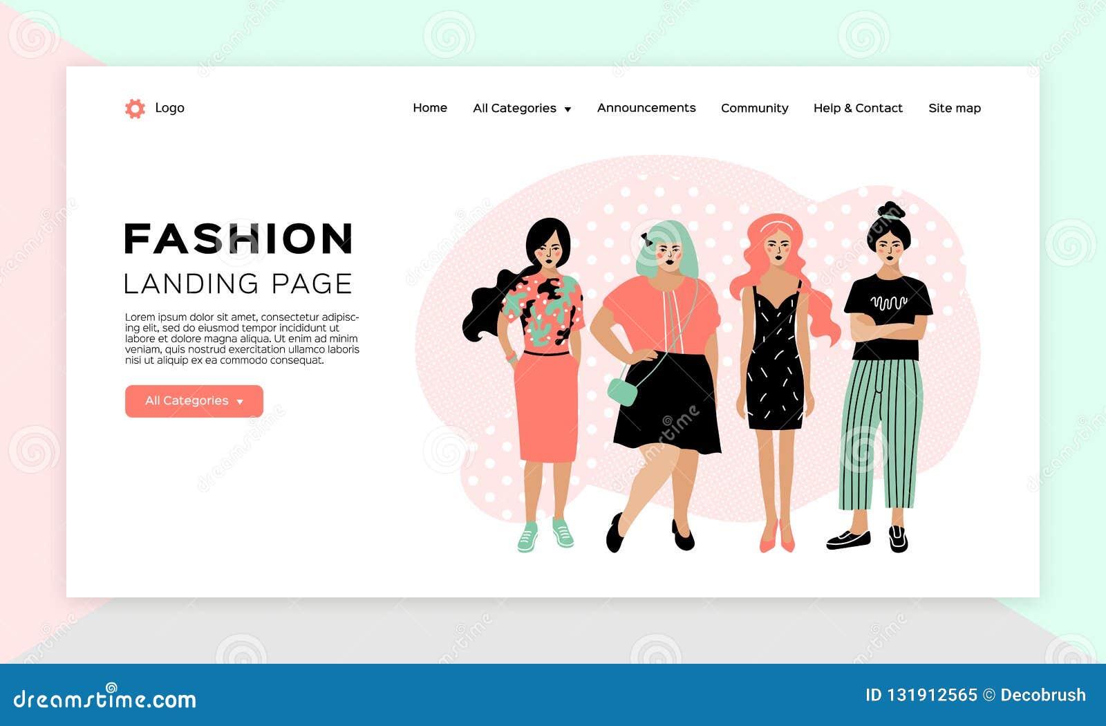 8fc581e96 Online Shopping Girl, Fashion Landing Page, Clothing Store Web ...