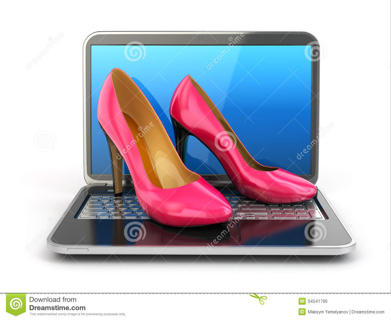 Online shopping. High heel shoes on laptop. 3d