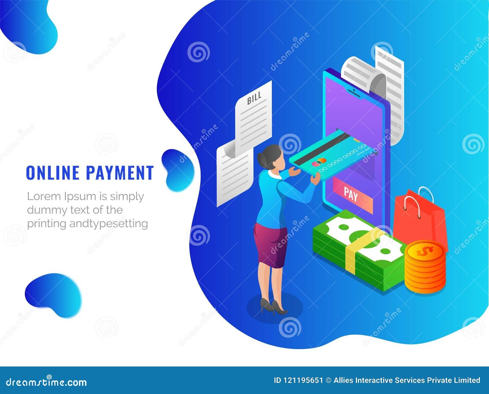 Online Shopping, Isometric Concept, Mobile App Or Landing