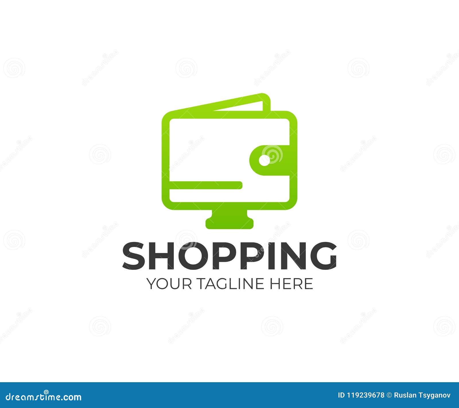 Online Shopping Logo Template Electronic Commerce Vector Design