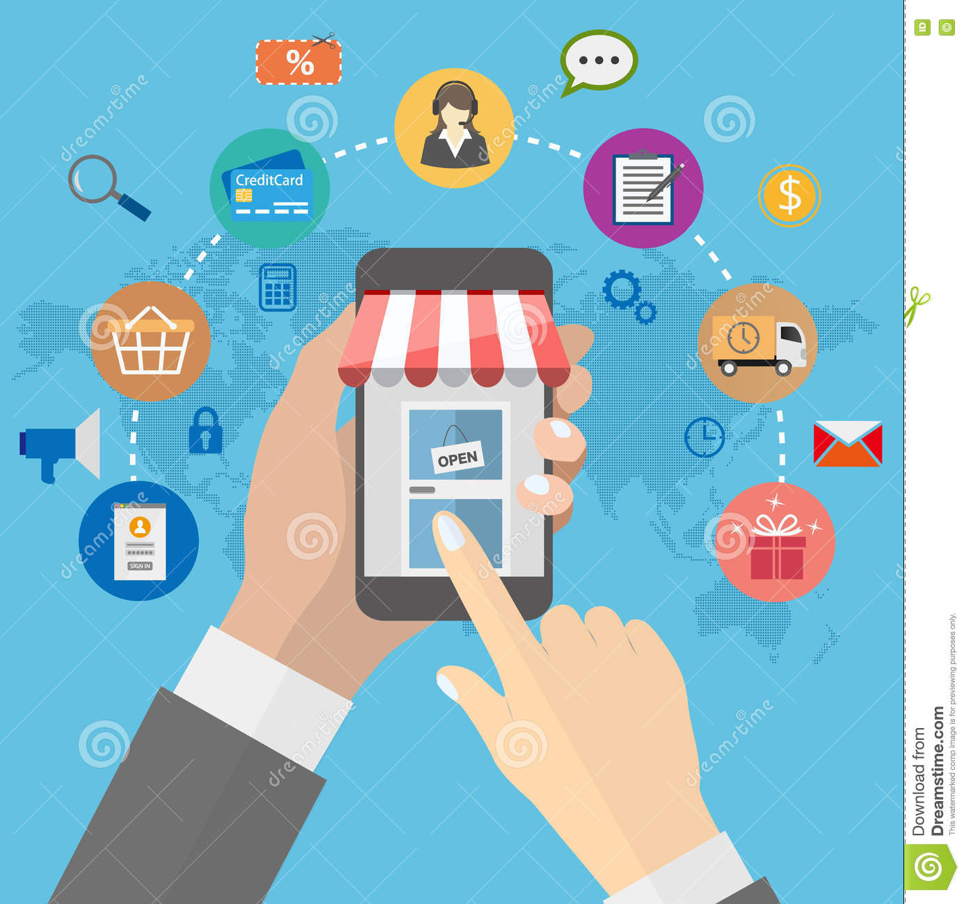 Online shopping with man holding smartphone and e commerce icons on online shopping with man holding smartphone and e commerce icons on global map background gumiabroncs Gallery