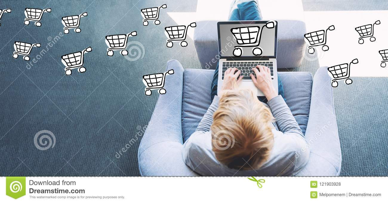 Online Shopping With Man Using A Laptop Stock Photo Image Of Shop