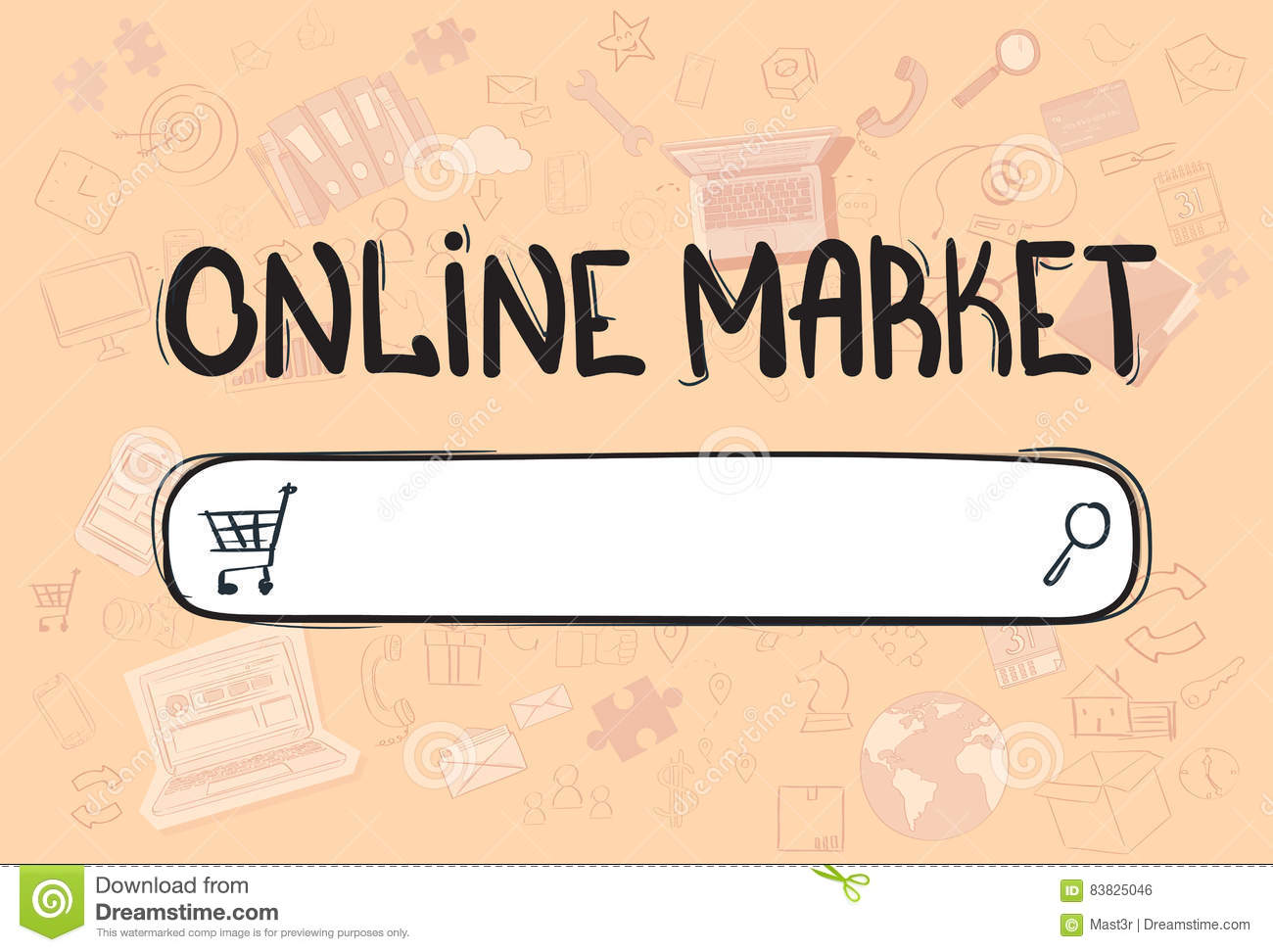 Online Shopping Market Application Interface Concept Doodle Hand
