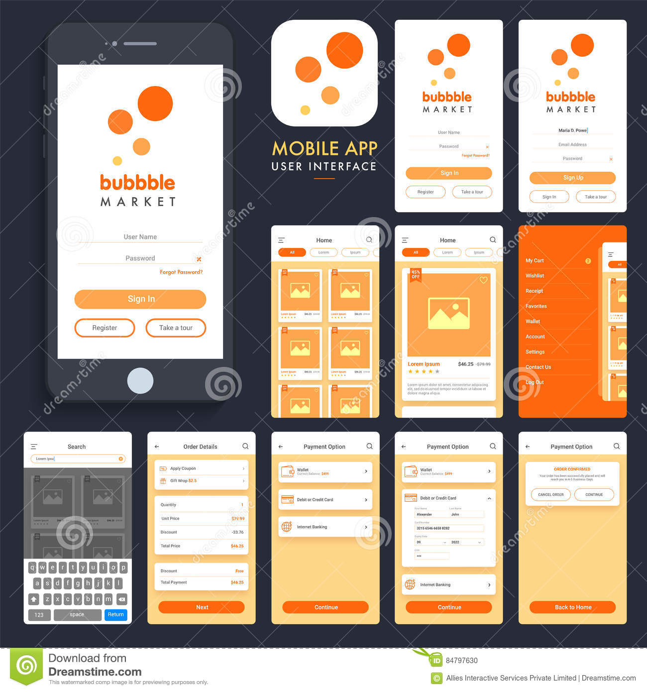 Online Shopping Mobile App Ui Ux Screens