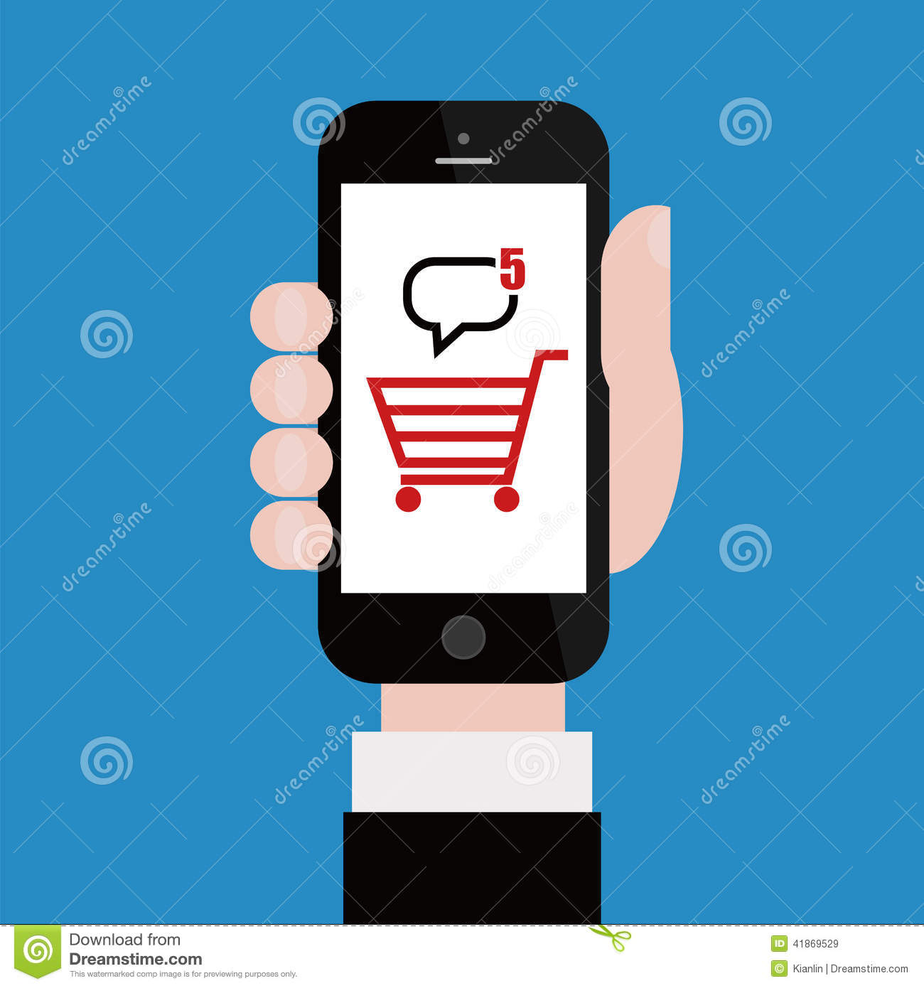Online shopping with mobile phone cartoon vector for Shop online mobili