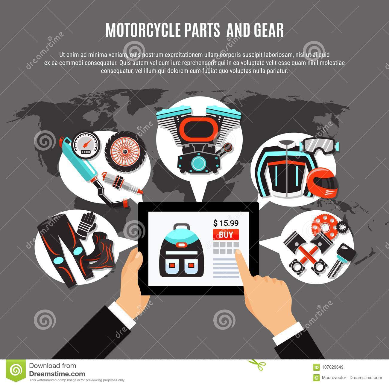 Online Shopping Of Motorcycle Parts Stock Vector